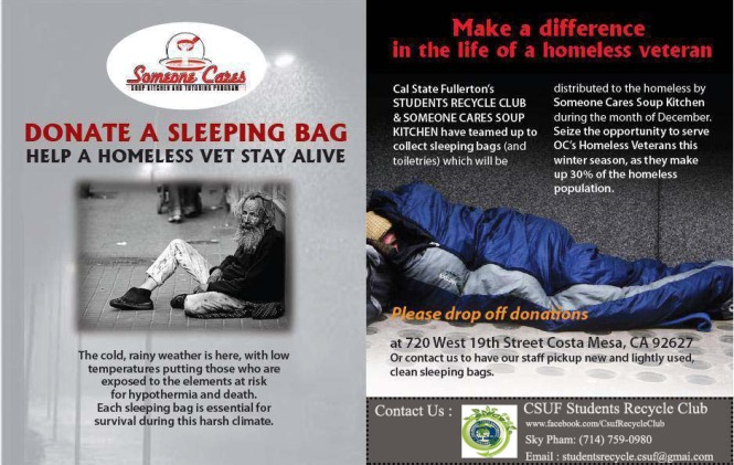 Help us reduce suffering and improve the lives of the very poor by donating sleeping bags and toiletries . Our project hands out hundreds of these items each winter and we always run out. Drop off donations to: California State University, Fullerton MH 426 ( CSUF Anthropology Department )  Contact : Sky Pham : 714-759-0980 Susan Luong : 626-380-5177 Thanks so much for your support!