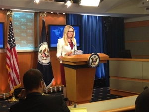 Marie Harf, US State vice spokeswoman at the press centre in Washington on May 8. — Photo VNA