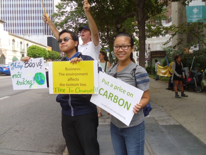 Demonstrate in LA, Wilshire Blvd., 9/20/2014, prior to the UN Climate Summit in NY. #SkyPham #SusanLuong #ClimateChange #UN #CallingforActions